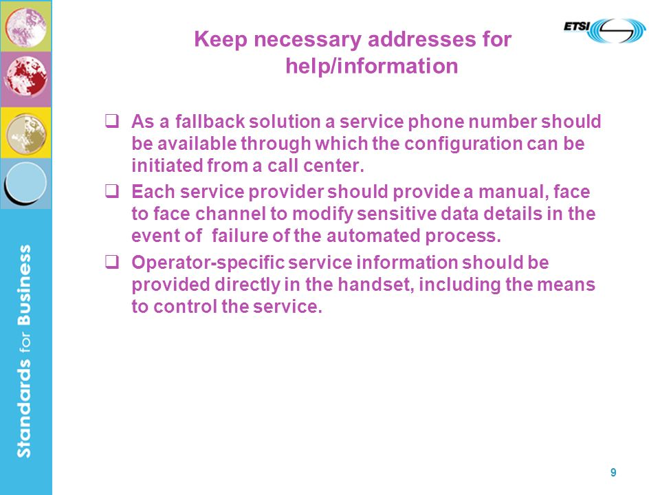 Keep necessary addresses for help/information