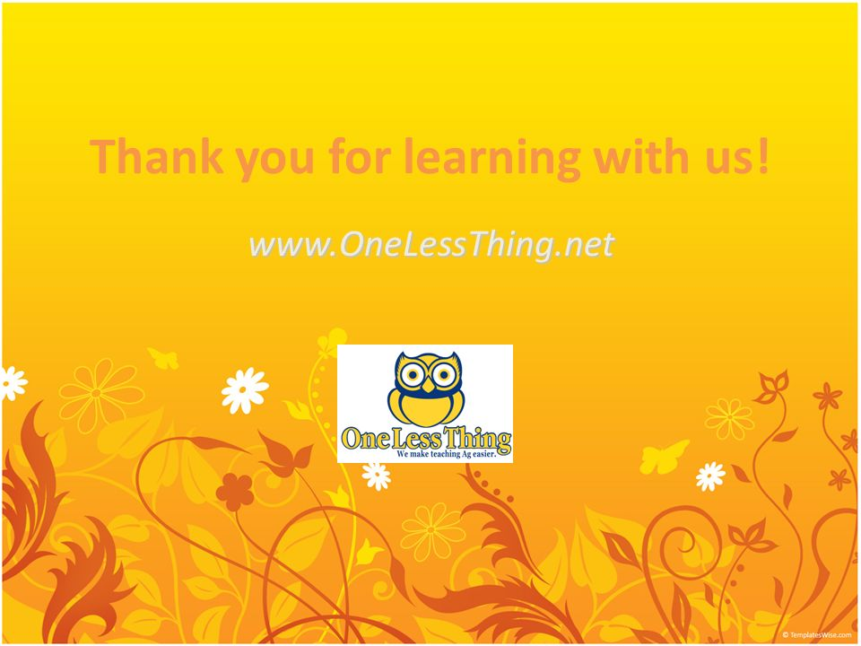 Thank you for learning with us!