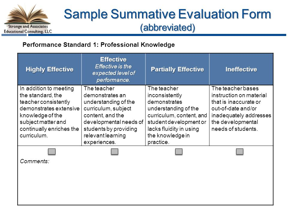 Stronge Teacher Effectiveness Performance Evaluation System ppt – Meeting Evaluation Form