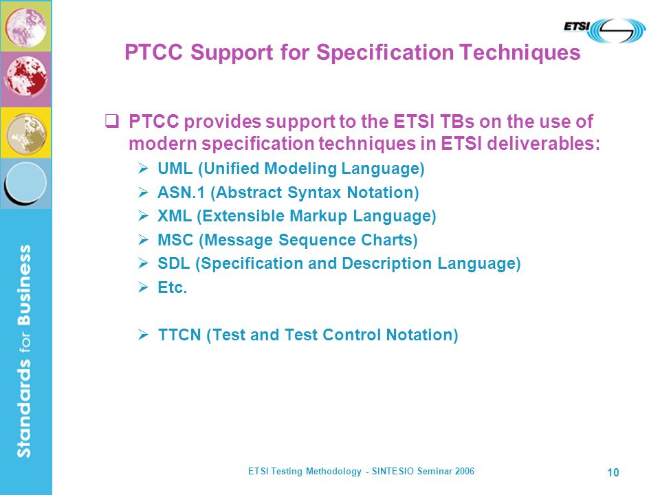 PTCC Support for Specification Techniques