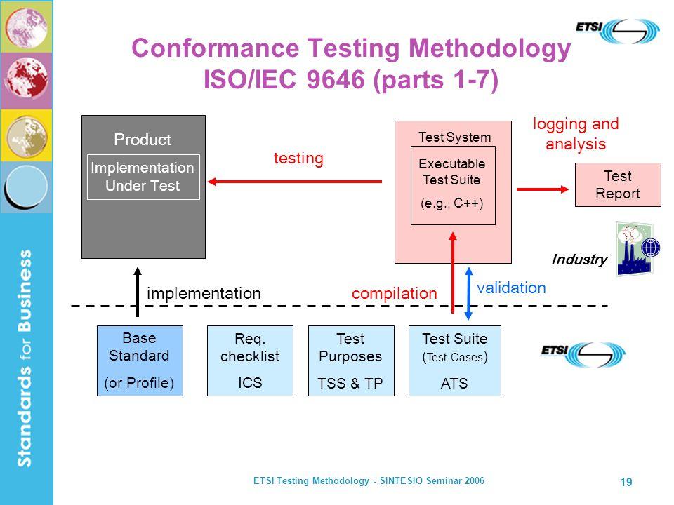 Conformance Testing Methodology ISO/IEC 9646 (parts 1-7)