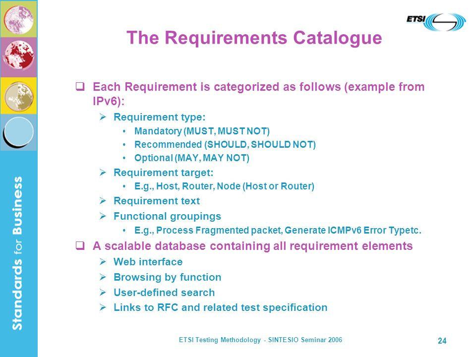 The Requirements Catalogue