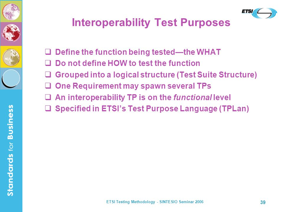Interoperability Test Purposes