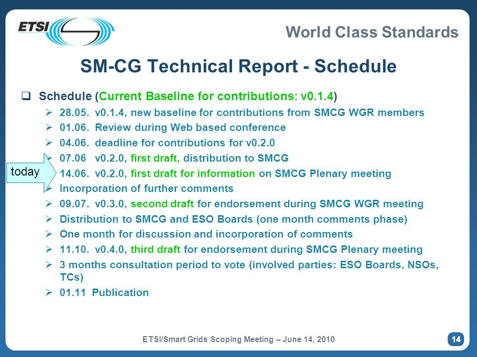 SM-CG Technical Report - Schedule