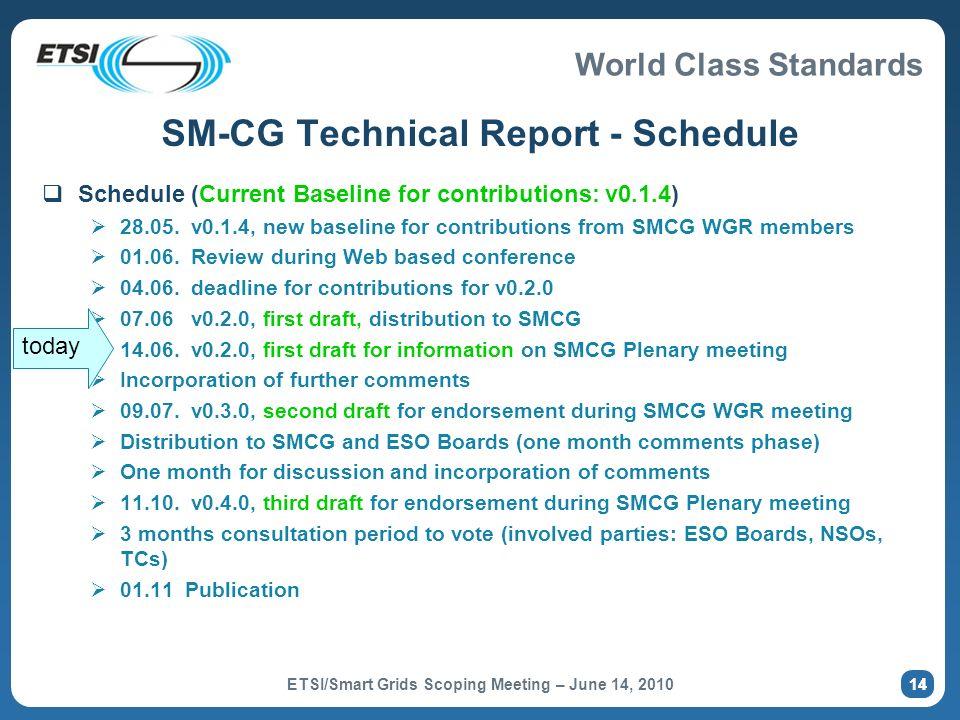 SM-CG Technical Report - Schedule
