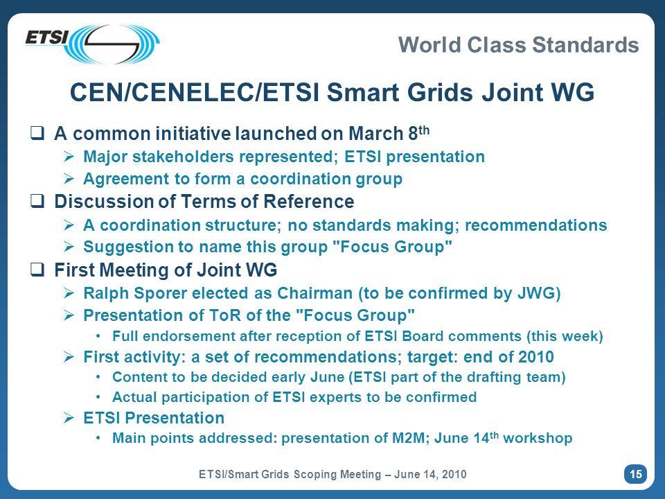 CEN/CENELEC/ETSI Smart Grids Joint WG