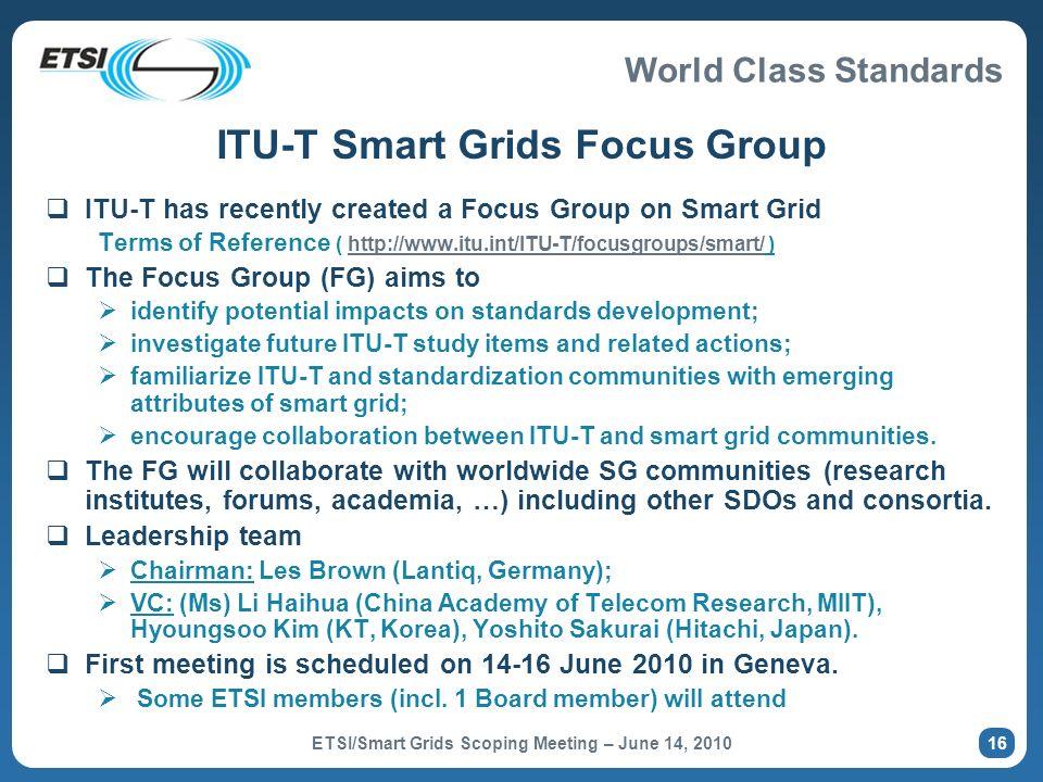 ITU-T Smart Grids Focus Group