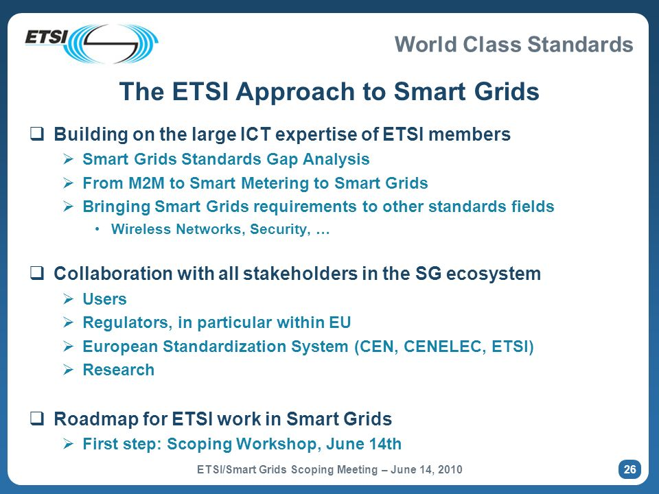 The ETSI Approach to Smart Grids