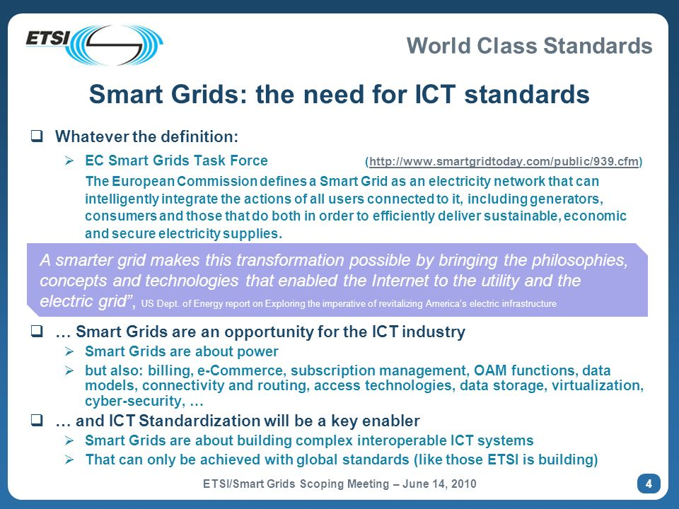 Smart Grids: the need for ICT standards