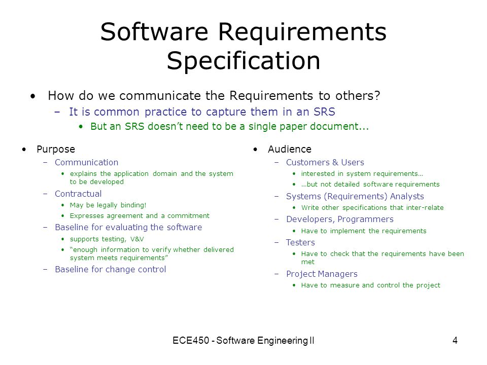 Ece450 software engineering ii ppt video online download for Srs software requirement specification template