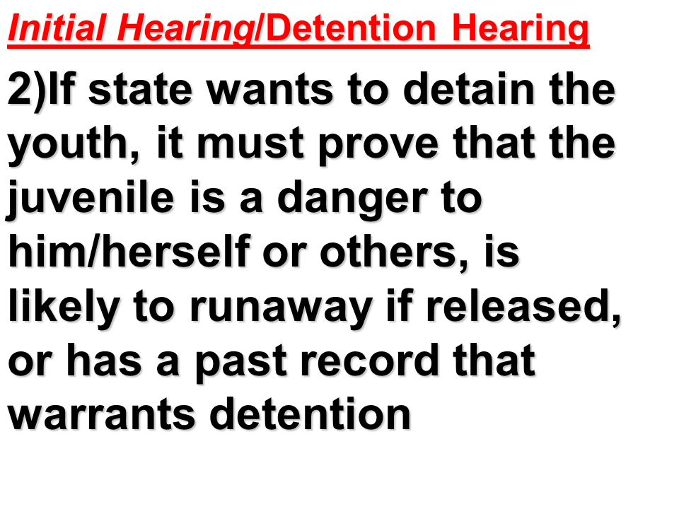 Initial Hearing/Detention Hearing