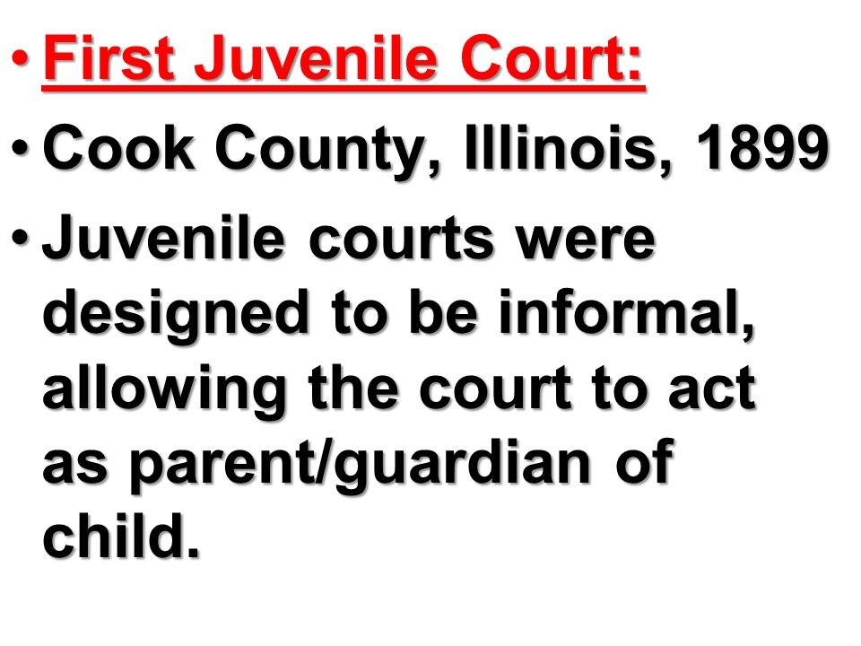 First Juvenile Court: Cook County, Illinois,