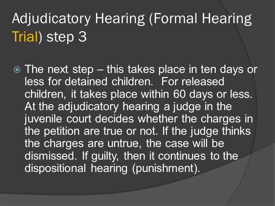 Adjudicatory Hearing (Formal Hearing Trial) step 3