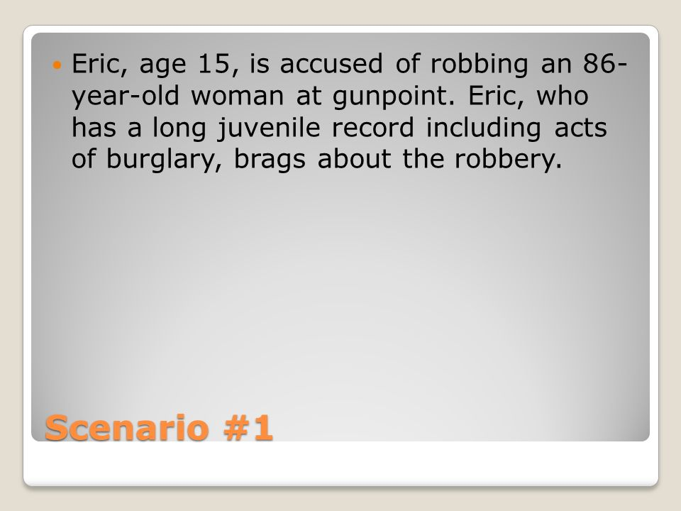 Eric, age 15, is accused of robbing an 86- year-old woman at gunpoint