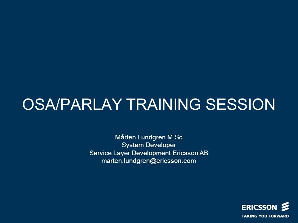 OSA/PARLAY TRAINING SESSION
