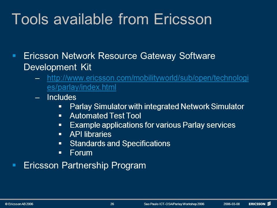 Tools available from Ericsson