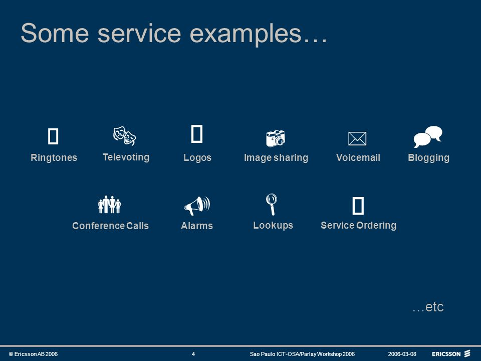 Some service examples…