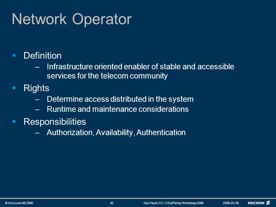 Network Operator Definition Rights Responsibilities