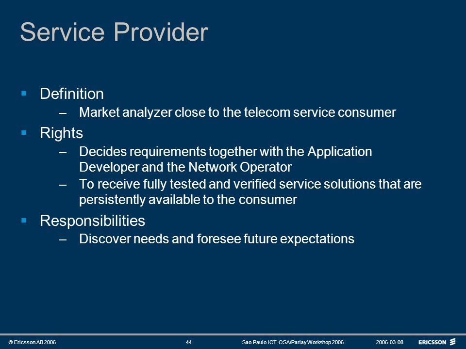 Service Provider Definition Rights Responsibilities