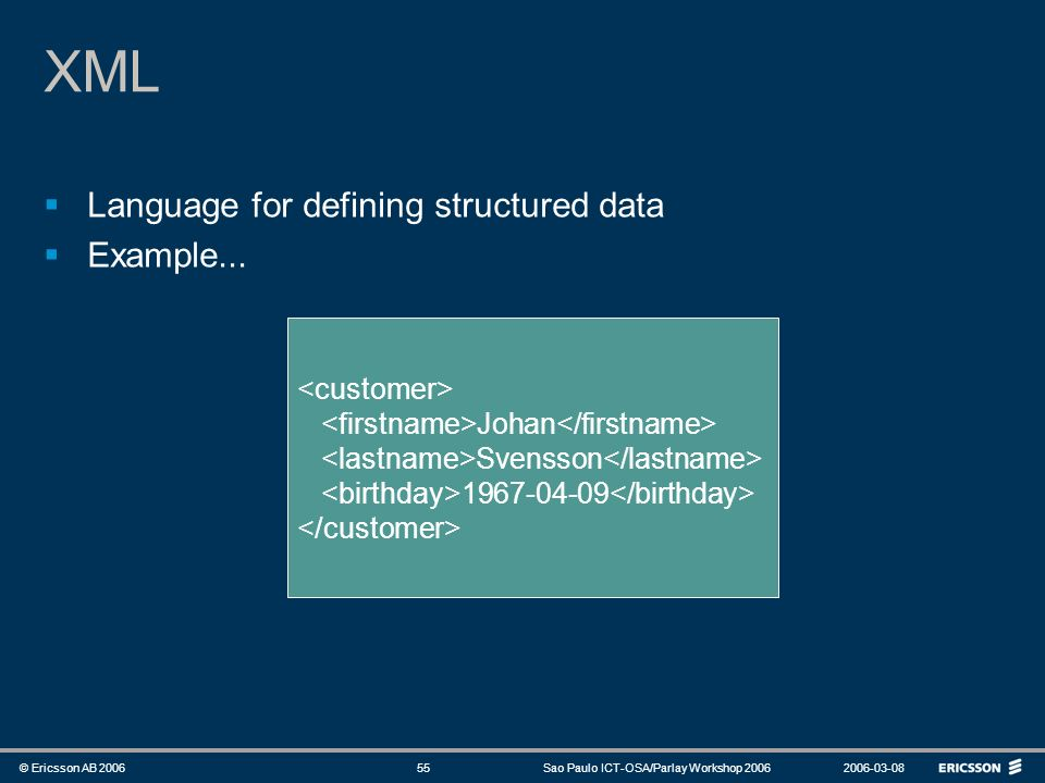 XML Language for defining structured data Example... <customer>