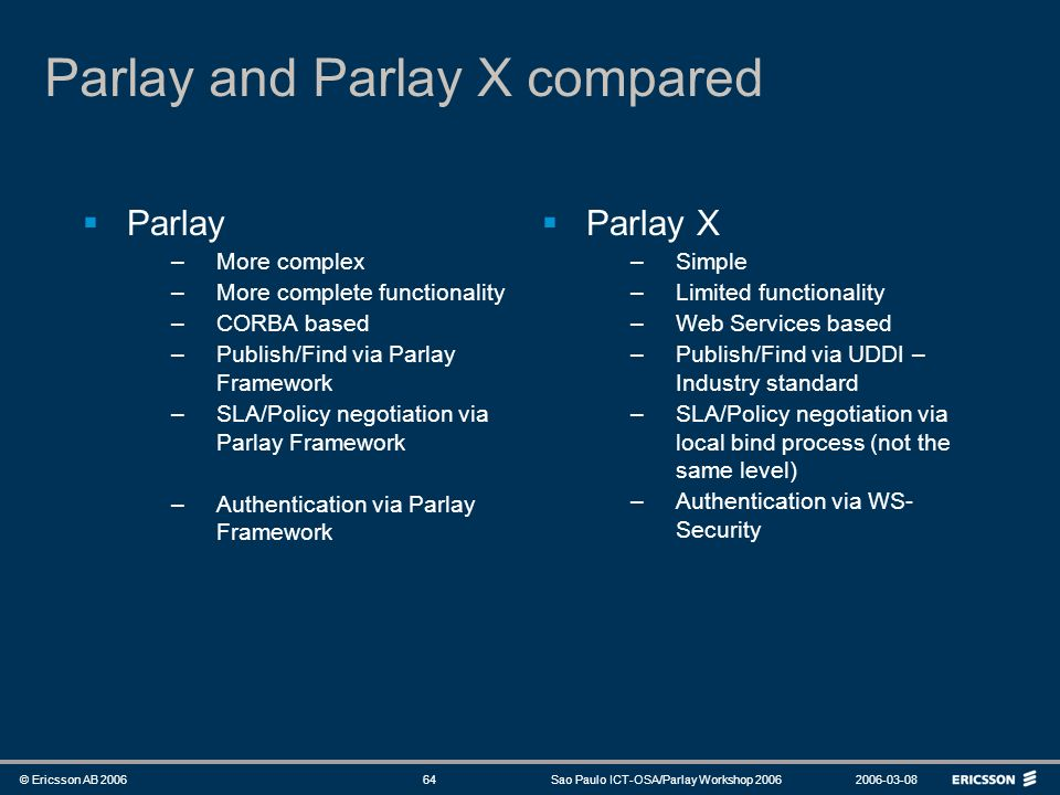 Parlay and Parlay X compared