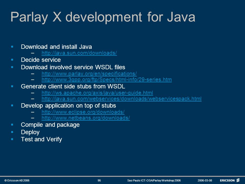 Parlay X development for Java
