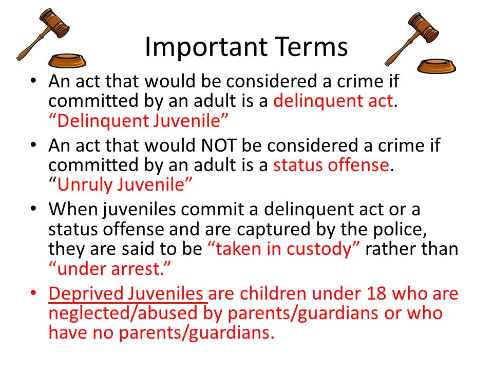 juvenile status offense Juveniles and status offenses: the impact of hirschi's bonds on juvenile delinquency emily kingsley hirschi's (1969) social control theory has been cited in previous literature to explain deviance, in particular juvenile delinquency, for years.