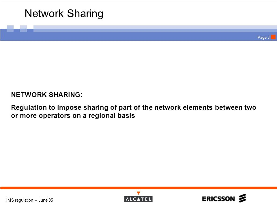 Network Sharing NETWORK SHARING:
