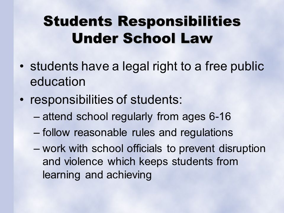 a reading of the students rights and responsibilities bill Lesson plan: consumer rights & responsibilities overview consumers have rights in the marketplace and those rights link directly to consumer responsibilities when exercising their responsibilities, consumers help sellers and other.