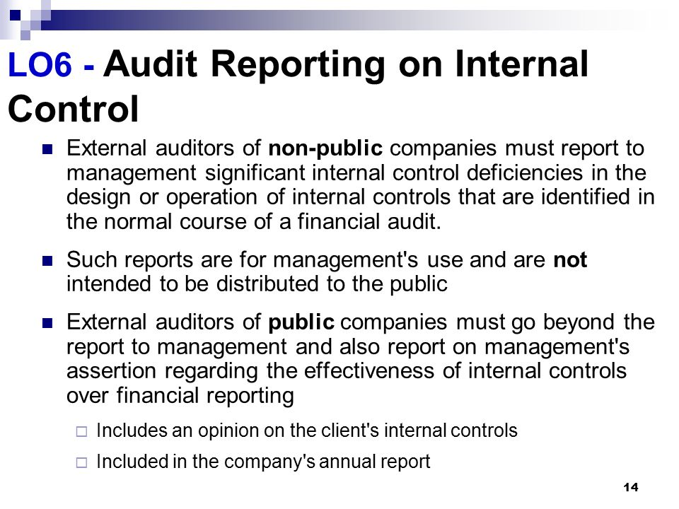 the aadit report and internal control Reports is a result of iiarf-funded research and prepared as a service to the iiarf and the internal audit profession expressed opinions, interpretations, or points of view represent a consensus of the researchers.