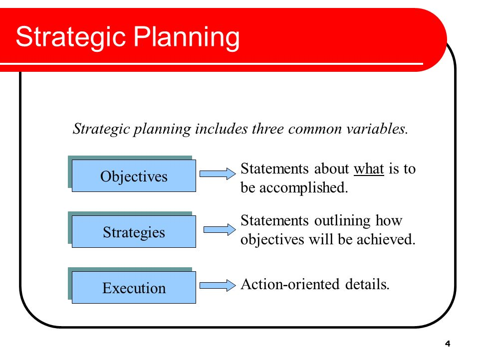stratgic planning Strategic plan attempts to anticipate various ways in which the markets, regulated industries and legislative requirements may evolve over time.