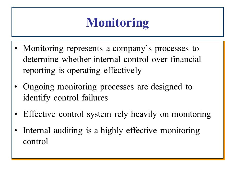 Financial Monitoring System : Chapter internal control over financial reporting ppt