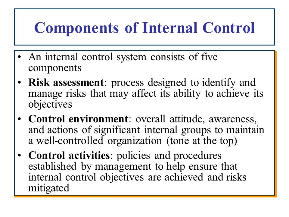 An overview of the internal control system process in organization management