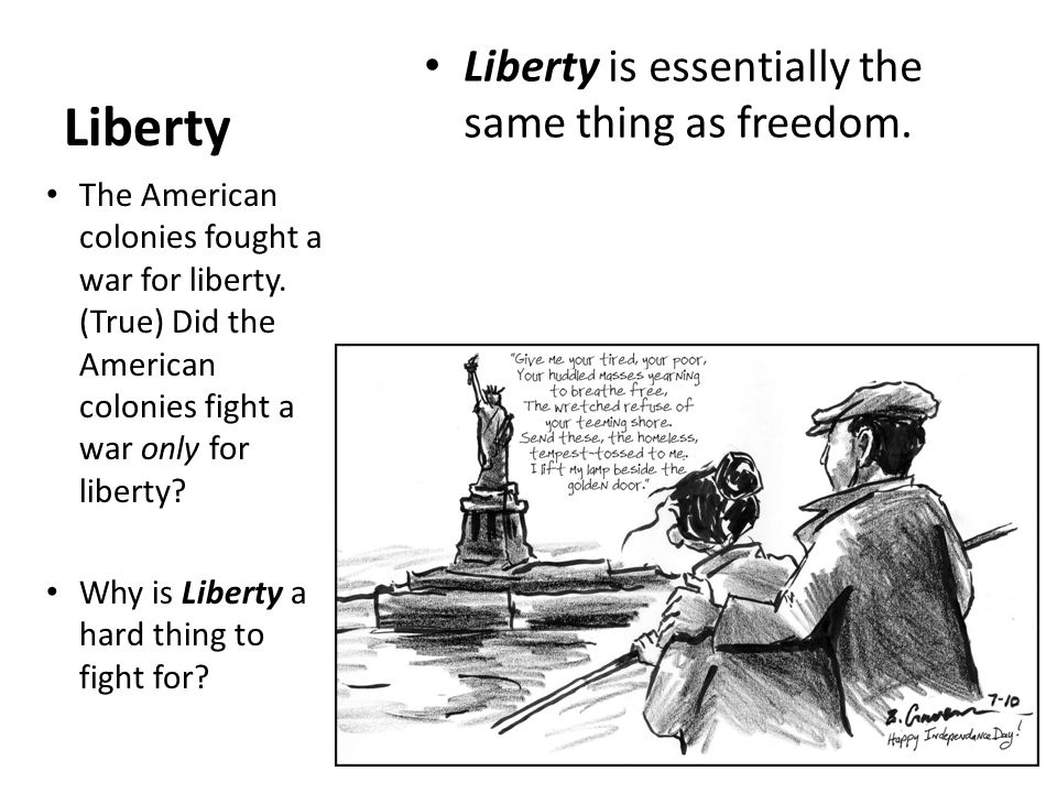 american ideals of freedom and liberty Freedom in late 19th century what did freedom and equality mean in the late 19th century  liberty after revolution american society divided into two political.