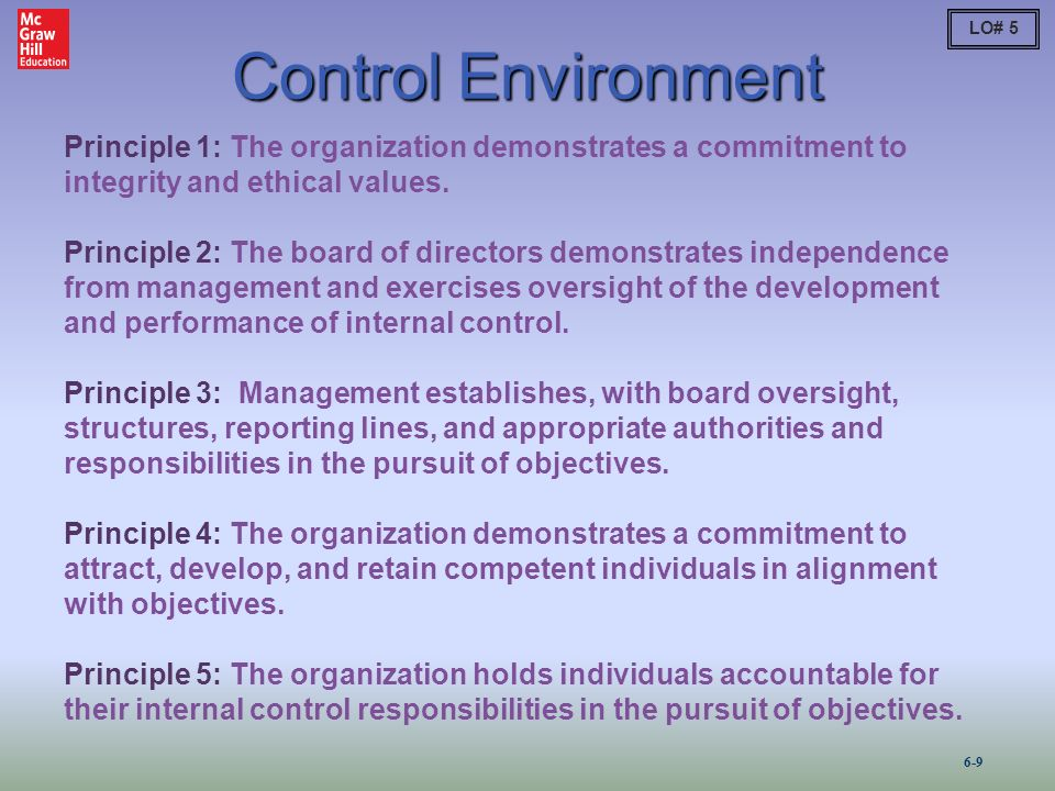 """an essay on internal control and control environment The institute of internal auditors control environment definition states that the control environment is the """"foundation on which an effective system of internal control is built and operated in an organization that strives to (1) achieve its strategic objectives, (2) provide reliable financial reporting to internal and external stakeholders ."""