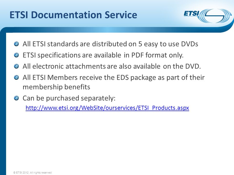 ETSI Documentation Service