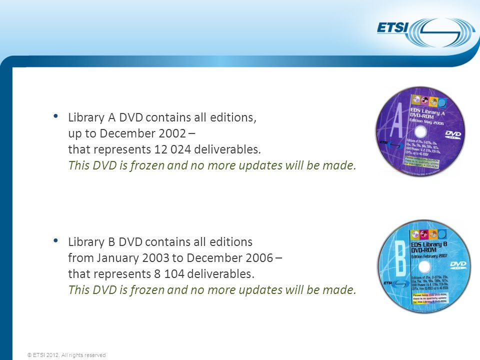 Library A DVD contains all editions, up to December 2002 – that represents 12 024 deliverables. This DVD is frozen and no more updates will be made.