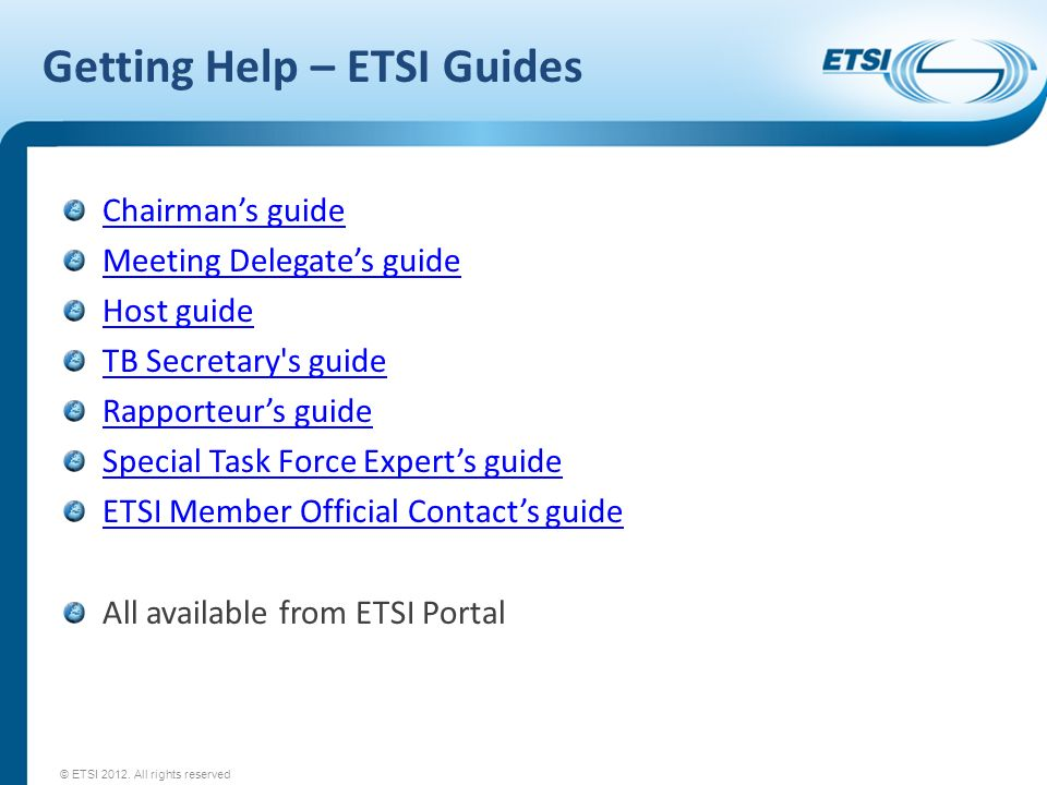 Getting Help – ETSI Guides