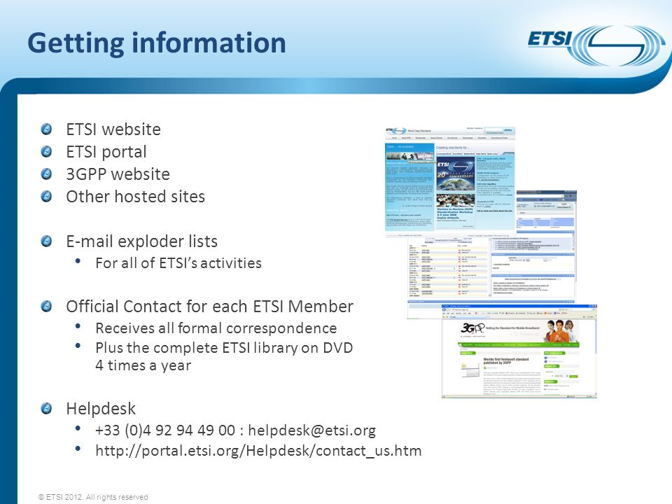 Getting information ETSI website ETSI portal 3GPP website