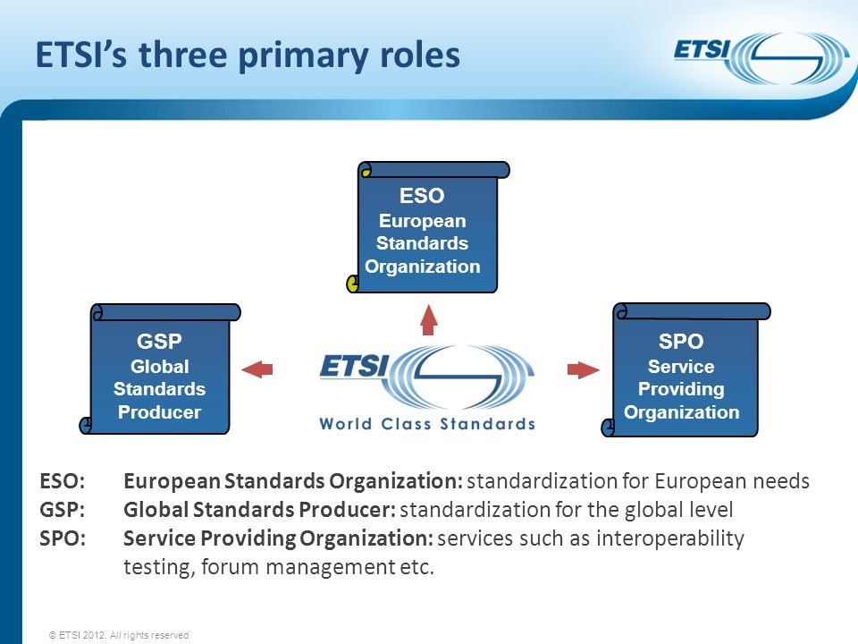 ETSI's three primary roles