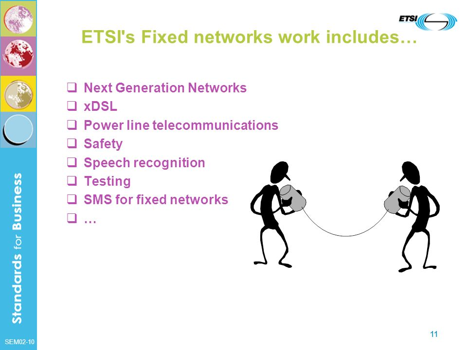 ETSI s Fixed networks work includes…