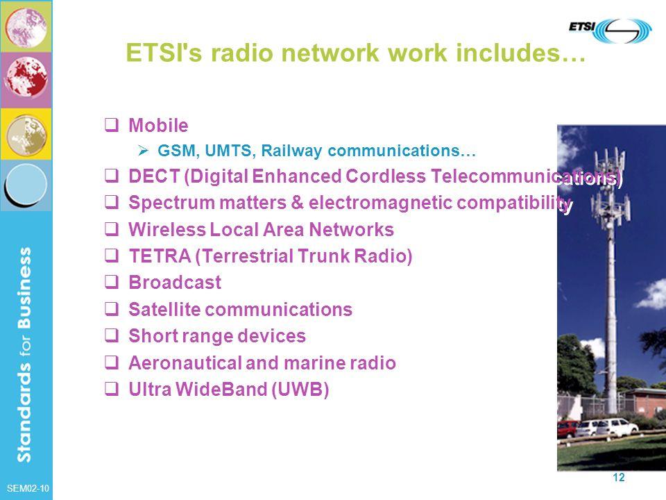 ETSI s radio network work includes…