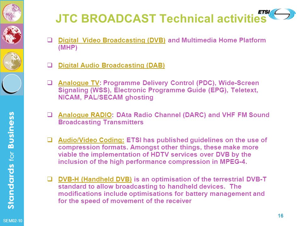 JTC BROADCAST Technical activities