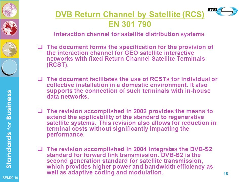 DVB Return Channel by Satellite (RCS) EN 301 790