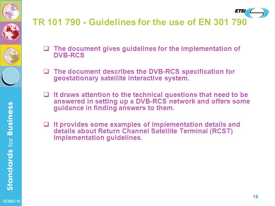 TR 101 790 - Guidelines for the use of EN 301 790