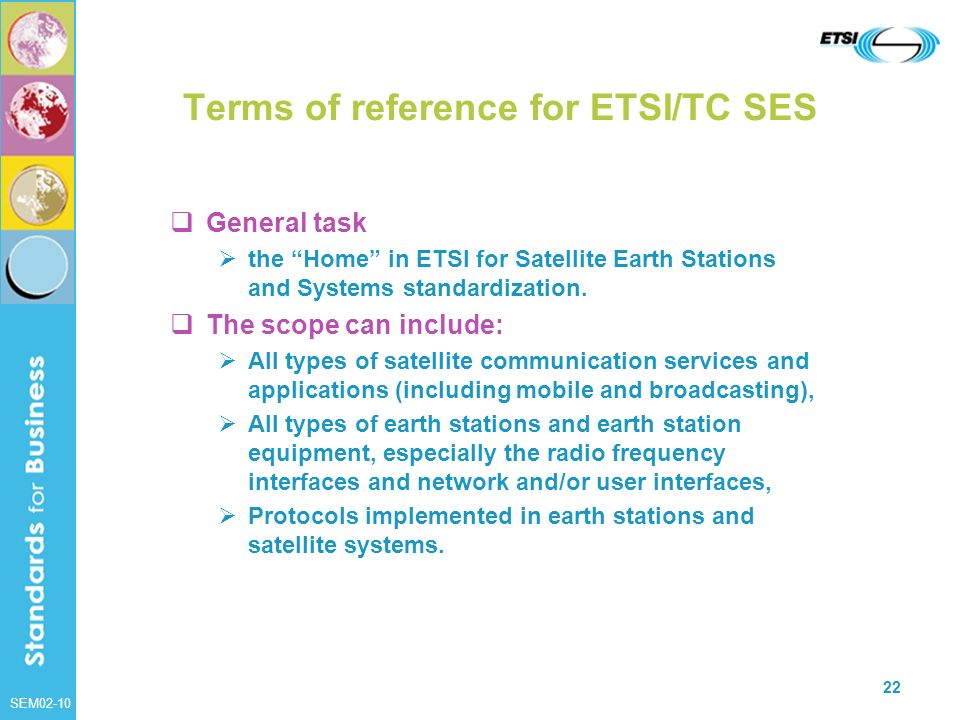 Terms of reference for ETSI/TC SES