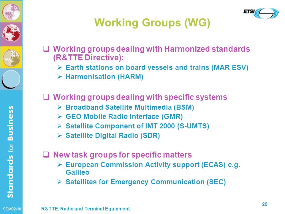 Working Groups (WG) Working groups dealing with Harmonized standards (R&TTE Directive): Earth stations on board vessels and trains (MAR ESV)