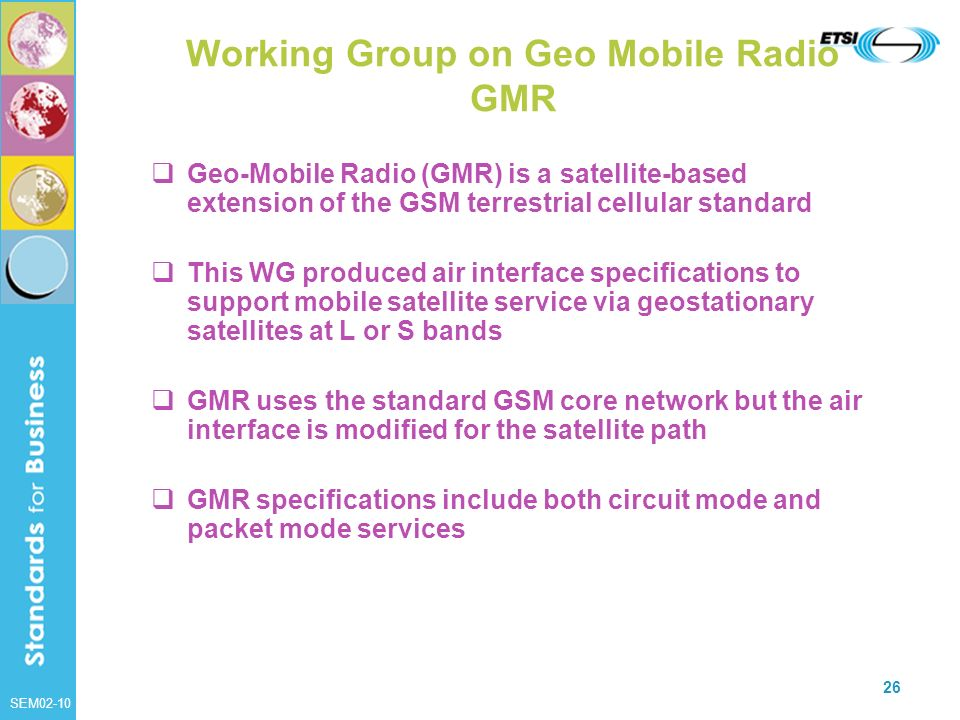 Working Group on Geo Mobile Radio GMR