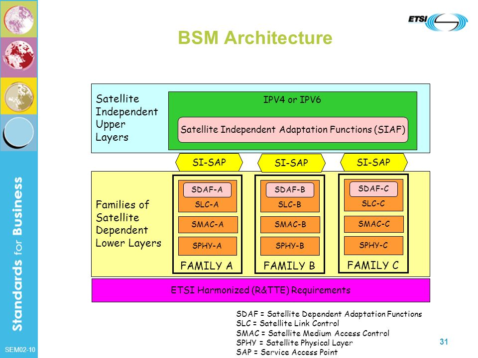 BSM Architecture Satellite Independent Upper Layers Families of