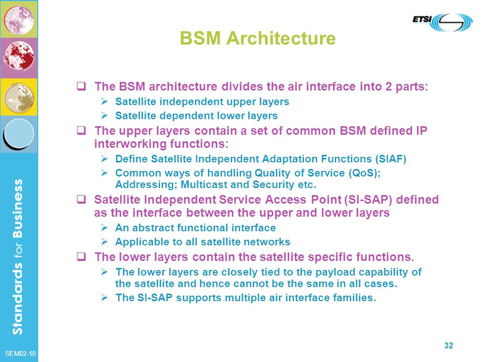 BSM Architecture The BSM architecture divides the air interface into 2 parts: Satellite independent upper layers.